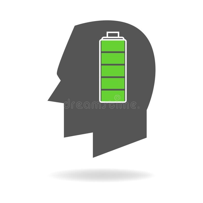 Testa umana con l'indicatore pieno della batteria illustrazione di stock