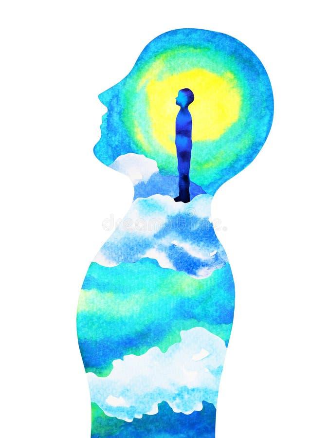 Testa umana, potere di chakra, estratto di fantasia pensante, mondo, universo dentro la vostra mente, pittura dell'acquerello royalty illustrazione gratis