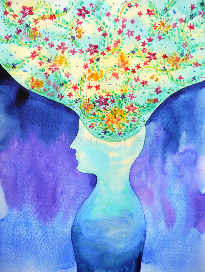 Testa umana, potere di chakra, pensiero astratto di ispirazione, mondo, universo dentro la vostra mente illustrazione vettoriale
