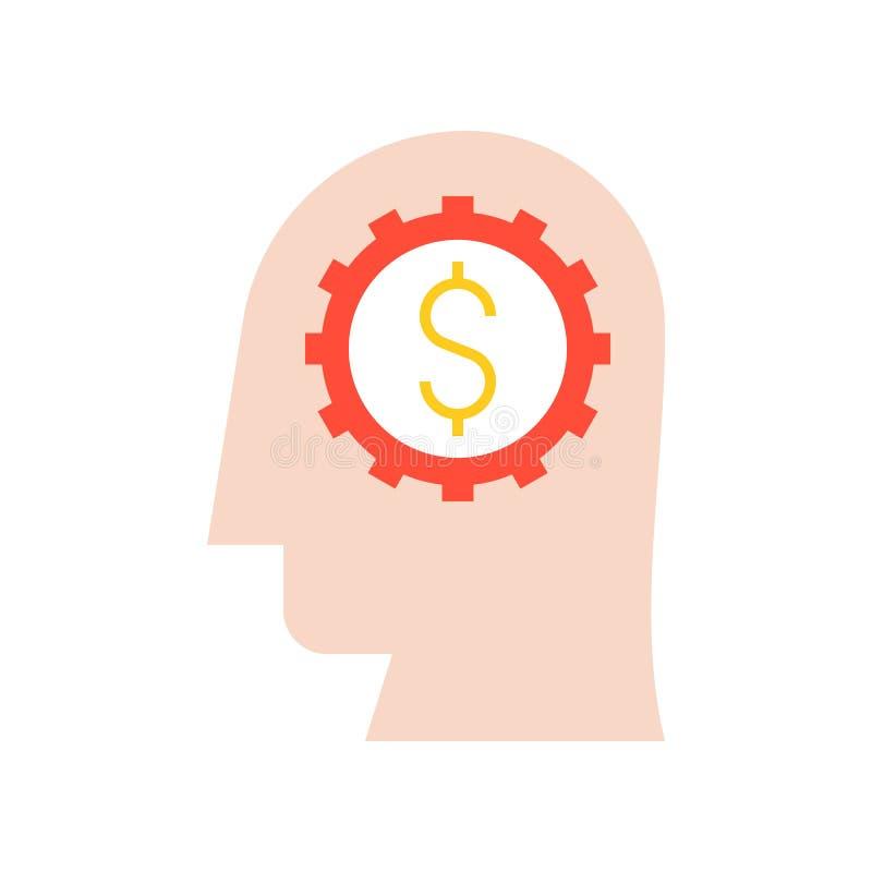 Testa umana, ruota dentata e soldi in cervello, in imprenditore o in investo illustrazione vettoriale