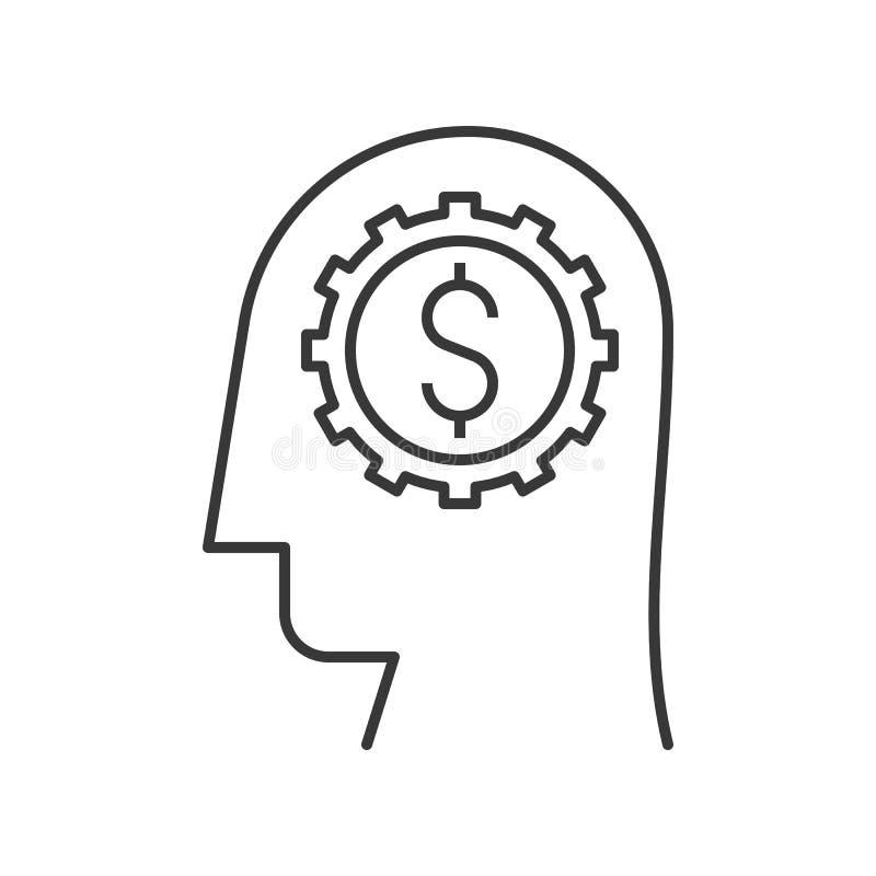 Testa umana, ruota dentata e soldi in cervello, in imprenditore o in investo illustrazione di stock