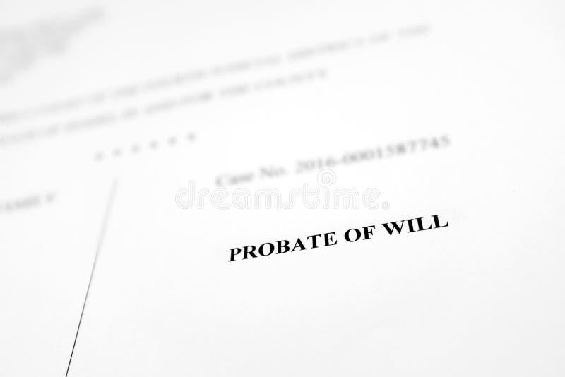 Testamentsbevakning av det lagliga dokumentet för Will royaltyfria bilder