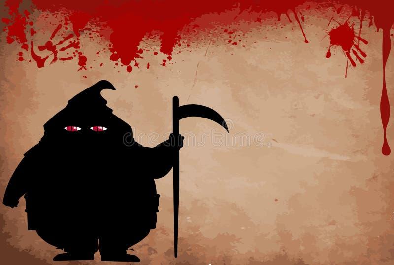 Testamentsexekutorkontur med rov- skruvade upp röda ögon på blod stock illustrationer