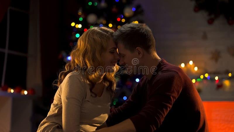 Testas de inclinação de amor dos pares, apreciando feriados do Natal, unidade imagem de stock