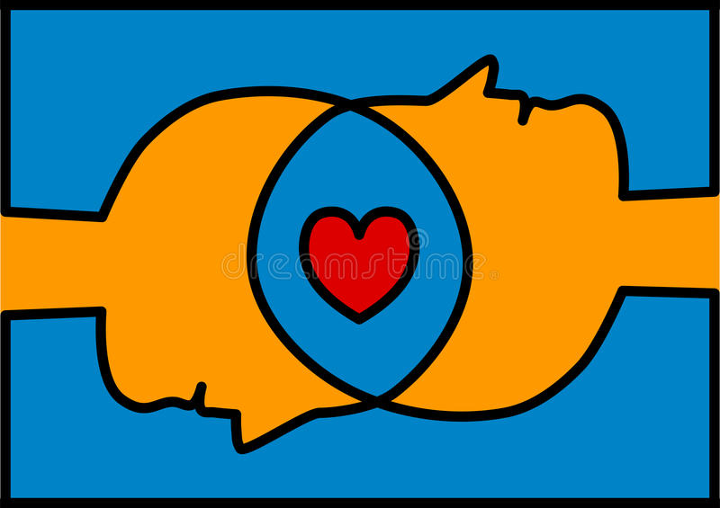 Teste collegate che dividono il cuore di amore illustrazione di stock