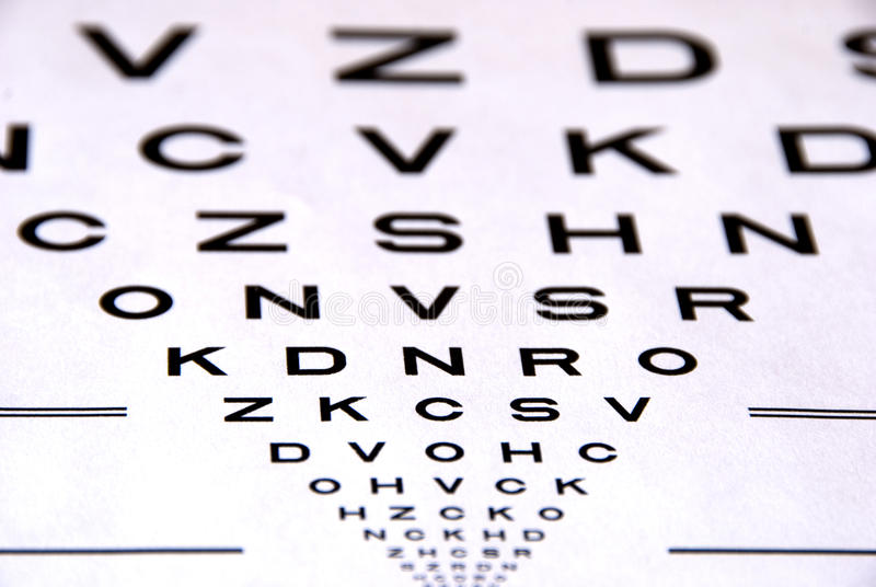 Teste da carta de olho fotografia de stock