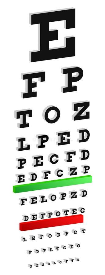 teste da carta de olho de 3D Snellen ilustração stock