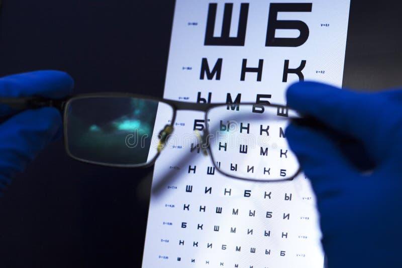 Teste da vis?o com letras e sele??o das lentes para vidros conceito da vis?o pobre fotos de stock