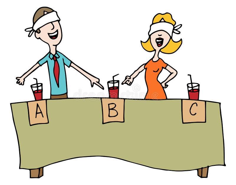 Teste de gosto cego da bebida ilustração do vetor