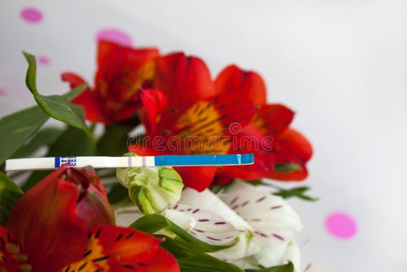 Teste de gravidez positivo com um ramalhete de flores do alstroemeria foto de stock