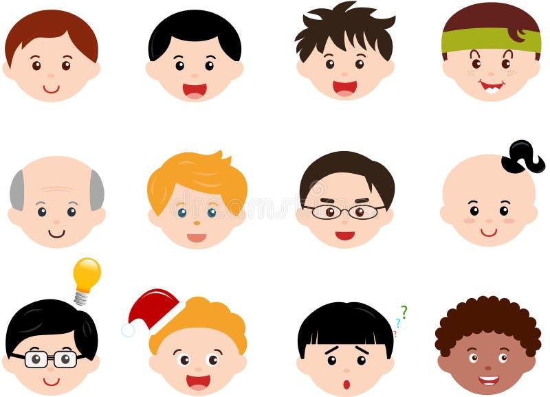 Teste dei ragazzi, uomini, ethnics differente dei bambini (maschio) illustrazione vettoriale