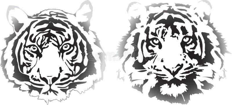 Teste della tigre nell'interpretazione di pendenza illustrazione vettoriale