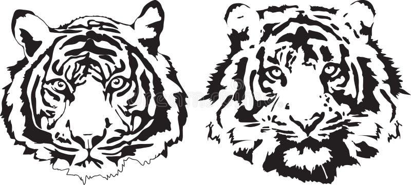 Teste della tigre nell'interpretazione nera illustrazione di stock