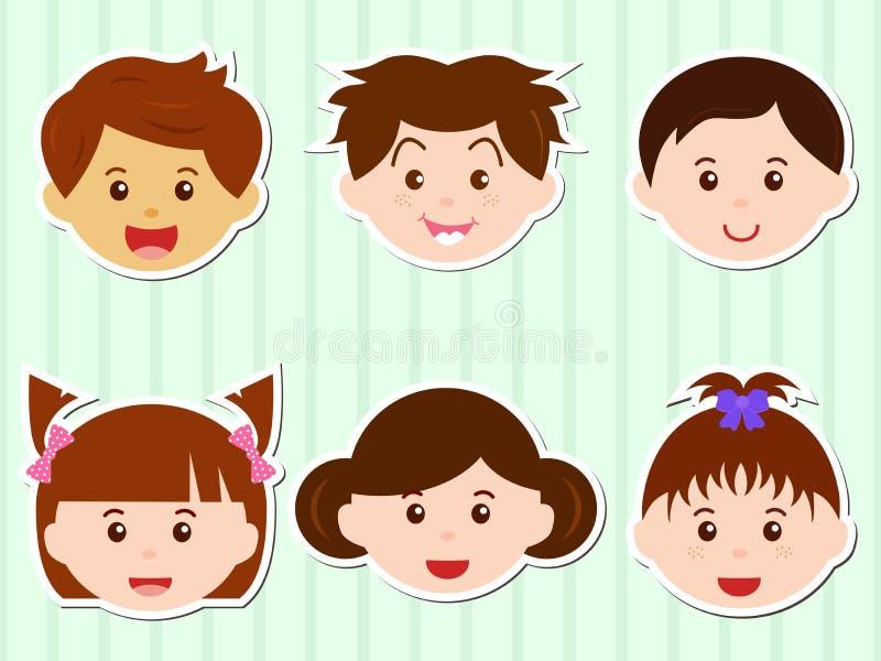 Teste delle ragazze/ragazzi con i capelli del Brown royalty illustrazione gratis