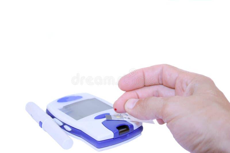 Teste do açúcar de sangue fotografia de stock royalty free