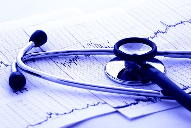 Teste e estetoscópio da cardiologia fotografia de stock