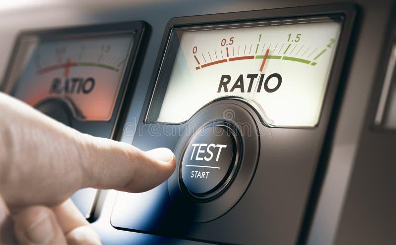 Teste financeiro do indicador, da solvibilidade e da liquidez ilustração stock