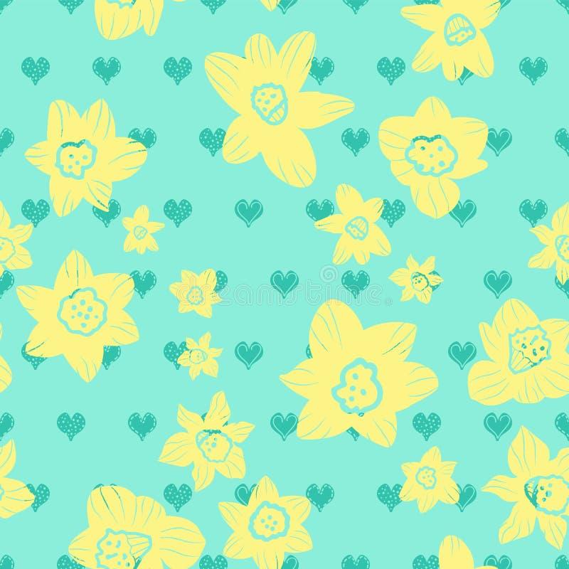 Teste gialle del narciso sul fondo stilizzato blu del cuore di scarabocchio Reticolo senza giunte di vettore illustrazione di stock