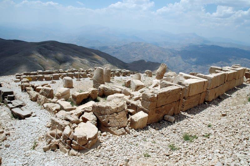 Teste monumentali del dio sul supporto Nemrut fotografia stock