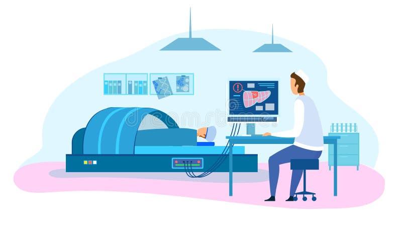 Teste paciente diagnóstico do fígado do doutor Make MRI ilustração royalty free