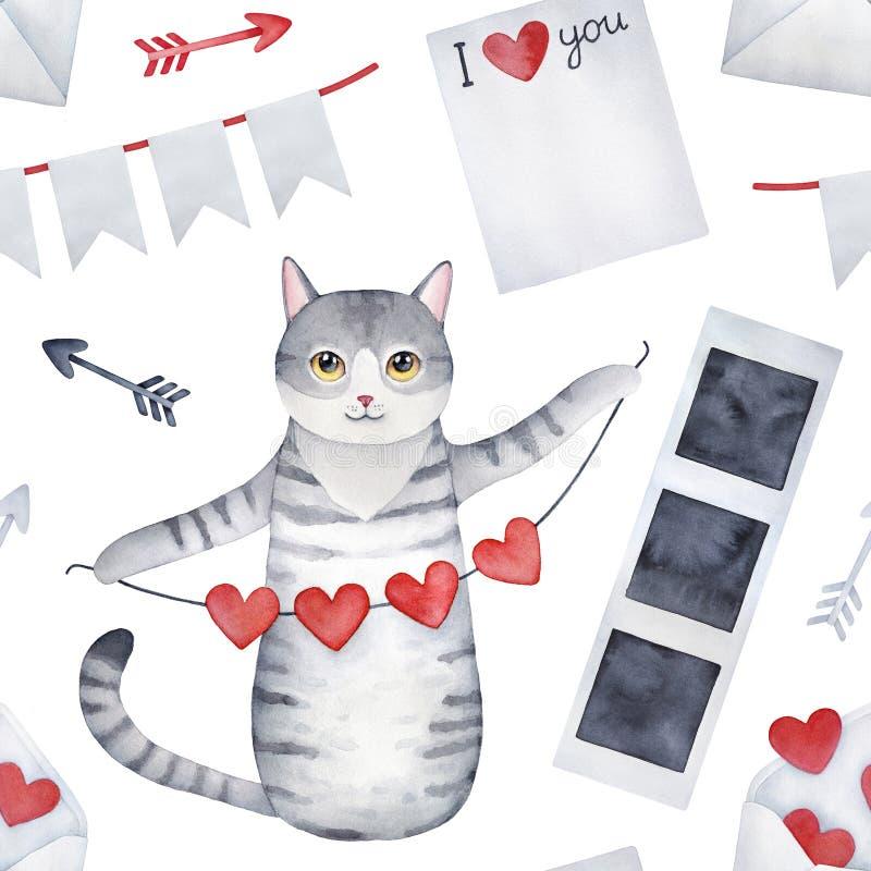 Teste padrão sem emenda com caráter cinzento bonito do gatinho e 'eu te amo 'símbolos ilustração do vetor