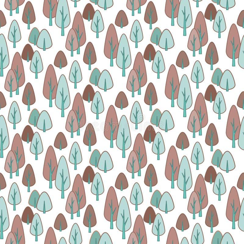Teste padrão à moda sem emenda com mão bonito os pinheiros tirados da garatuja Ilustração do esboço do vetor, branca no verde ilustração stock