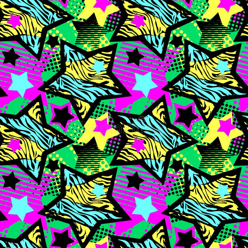 Teste padrão áspero sem emenda do grunge do t-shirtl abstrato da menina, molde do projeto moderno ilustração stock