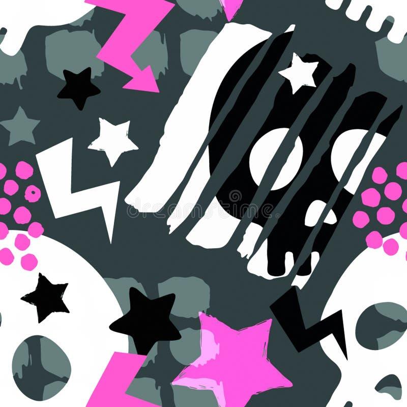 Teste padrão áspero sem emenda funky do grunge do crânio, templat do projeto moderno ilustração stock