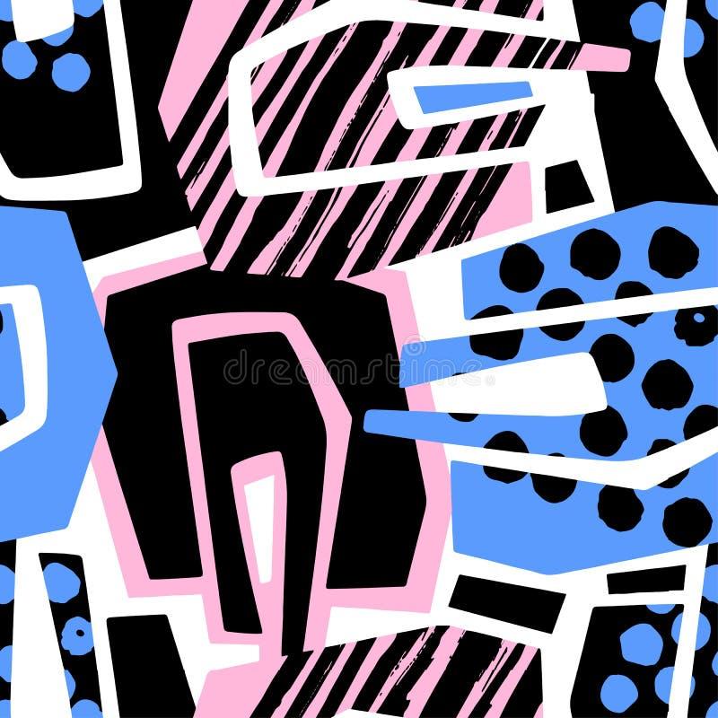 Teste padrão áspero sem emenda geométrico abstrato do grunge, desig moderno ilustração stock