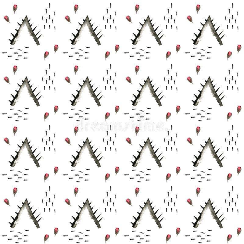 Teste padrão étnico da aquarela da árvore Fundo geom?trico asteca da forma Teste padr?o monocrom?tico tirado m?o Papel de parede  ilustração do vetor