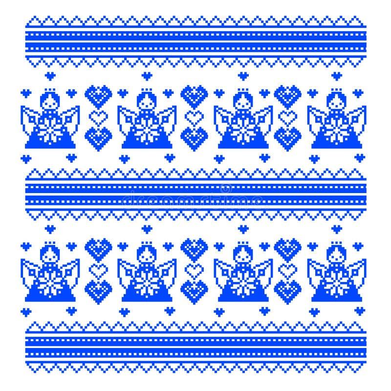 Teste padrão étnico de Ucrânia Ponto transversal do ornamento ilustração stock