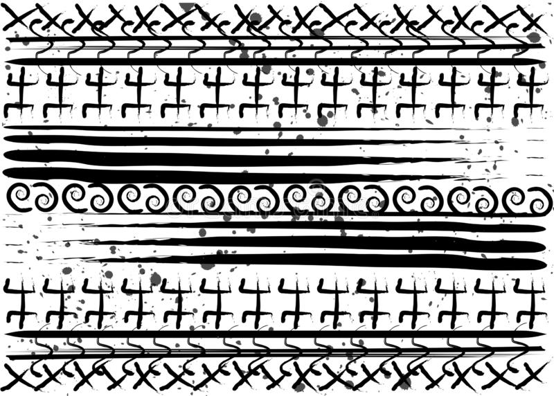 Teste padrão étnico do Afro Símbolos geométricos feitos a mão e listras horizontais Projeto preto e branco da cópia para suas mat ilustração royalty free
