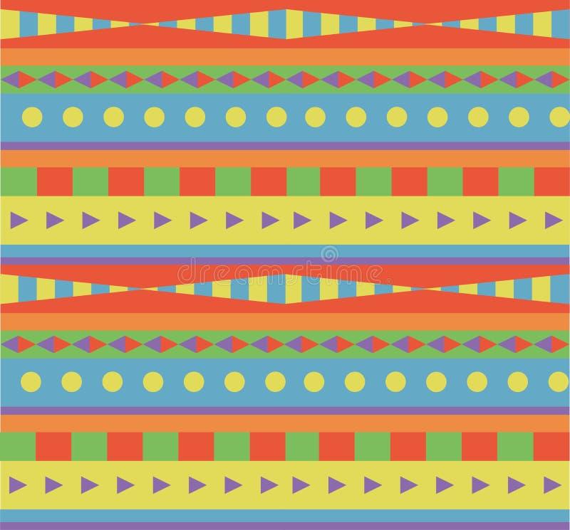 Teste padrão étnico do arco-íris geométrico ilustração do vetor