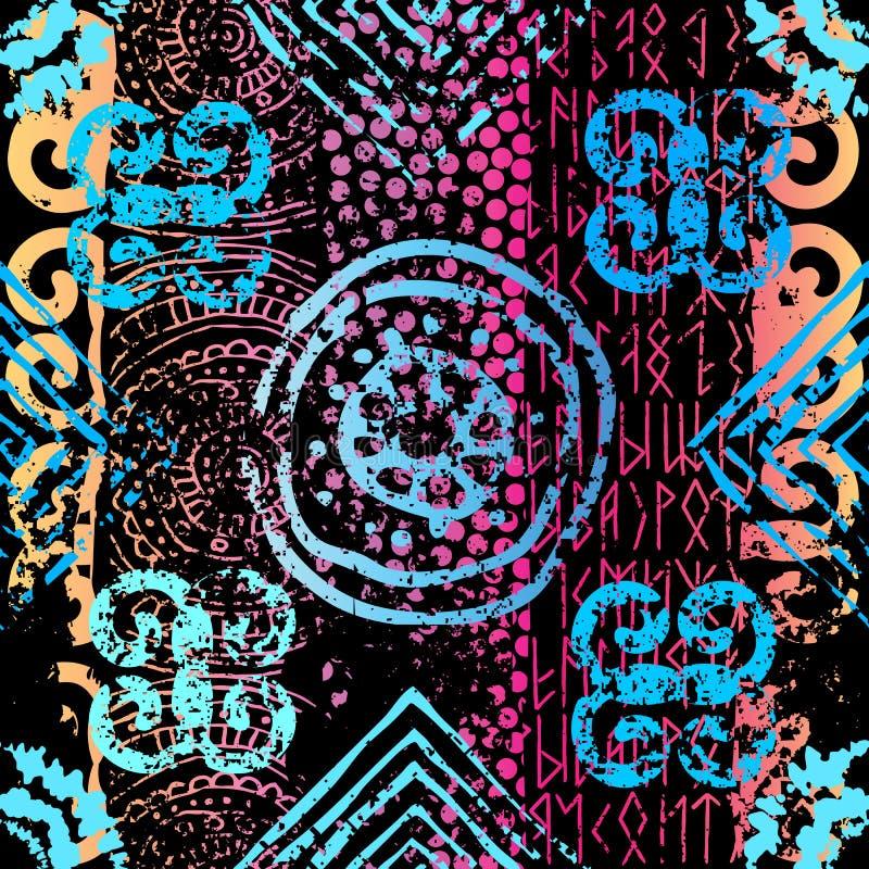 Teste padrão étnico do Grunge. ilustração do vetor