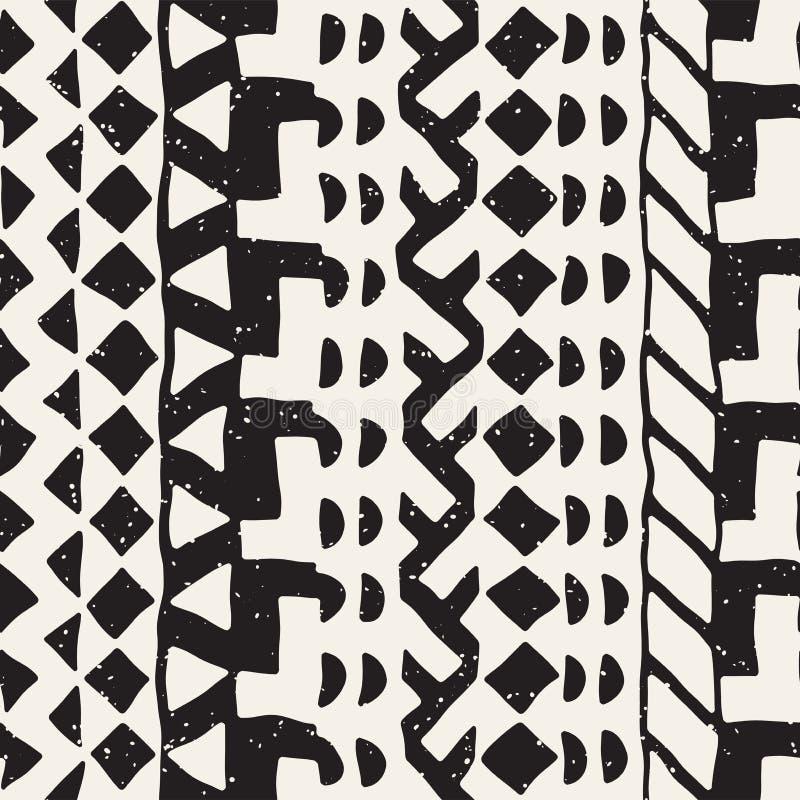 Teste padrão étnico e tribal sem emenda Listras decorativas tiradas mão Cópia preto e branco Vector o fundo geométrico ilustração stock