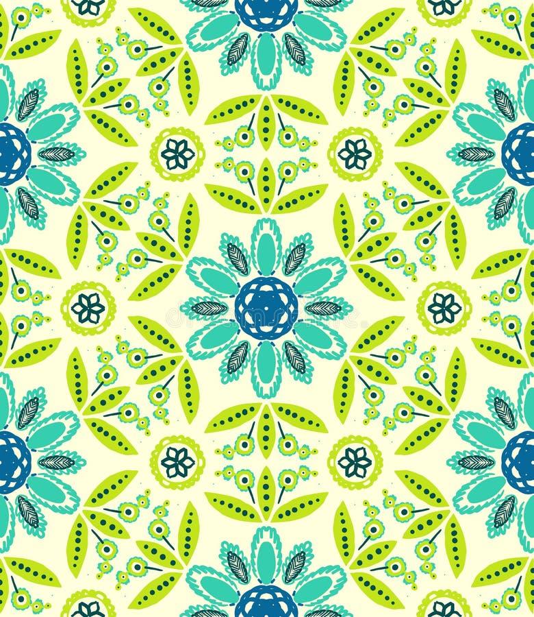 Teste padrão étnico floral da mola ilustração royalty free