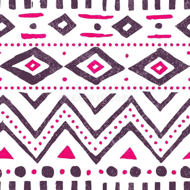 Teste padrão étnico sem emenda Cópia bonito do vintage Branco, roxo e p ilustração royalty free