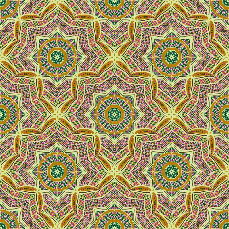 Teste padrão étnico sem emenda de ornamento redondos ilustração royalty free