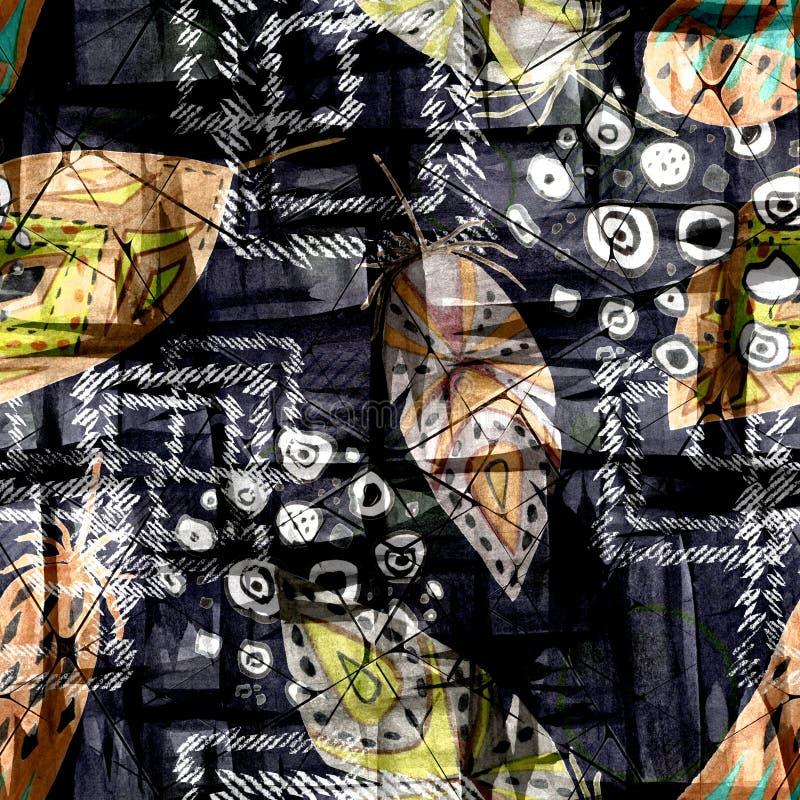 Teste padrão étnico sem emenda do boho com as penas no fundo preto ilustração do vetor