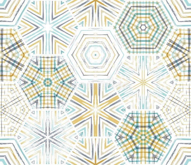 Teste padrão étnico sem emenda dos hexágonos de matéria têxtil ilustração royalty free