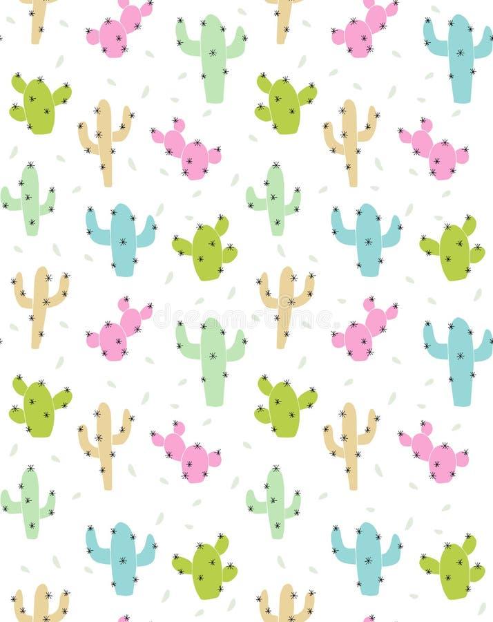 Teste padrão abstrato bonito do vetor do cacto Cacto cor-de-rosa, verde, bege e azul com espinhas pretas ilustração royalty free