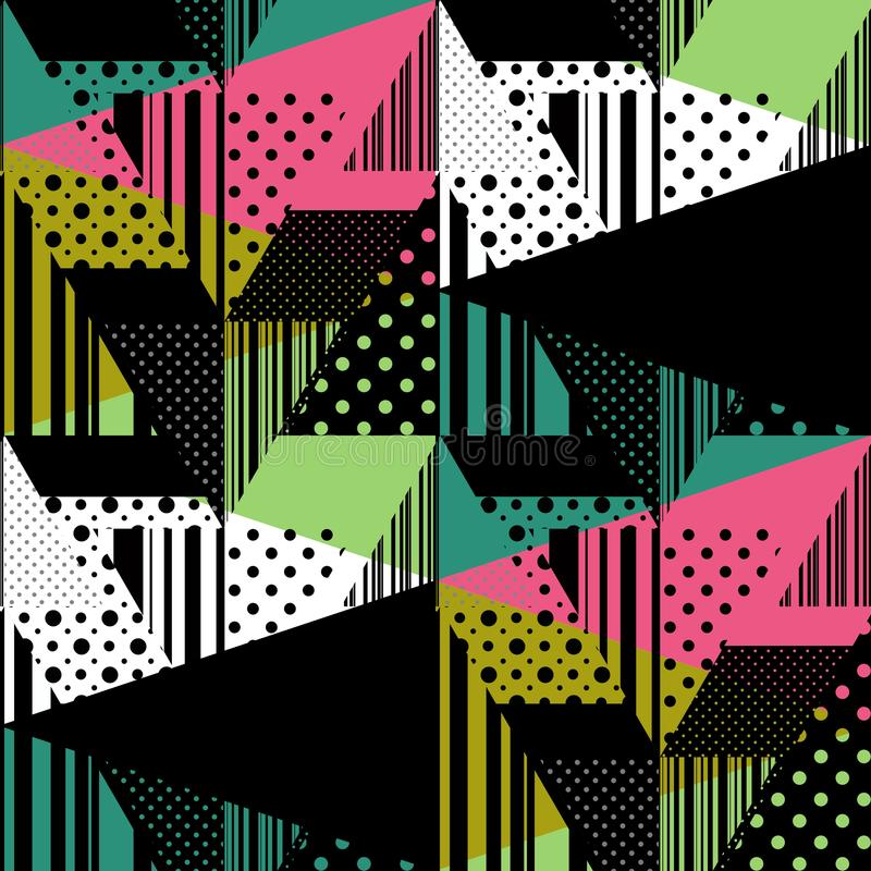 Teste padrão abstrato colorido sem emenda da listra e de às bolinhas patchwork ilustração royalty free