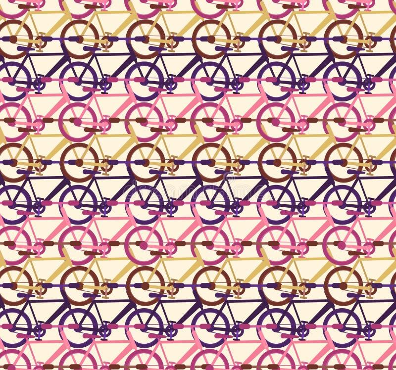 Teste padrão abstrato com fileiras do tráfego de bicicleta ilustração do vetor