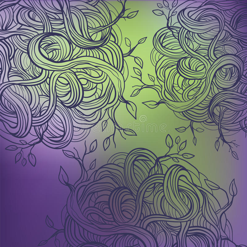 Teste padrão abstrato com raizes da planta ilustração do vetor