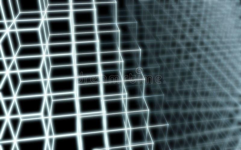 Teste padrão abstrato da forma de bordas dos cubos ilustração do vetor