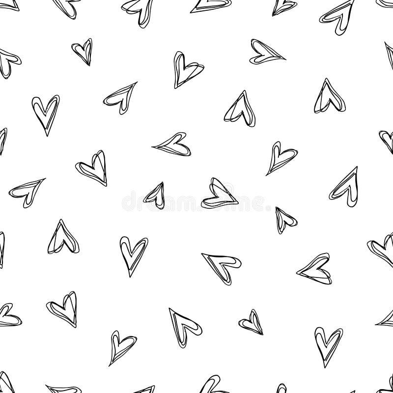 Teste padrão abstrato da garatuja com corações tirados mão ilustração stock