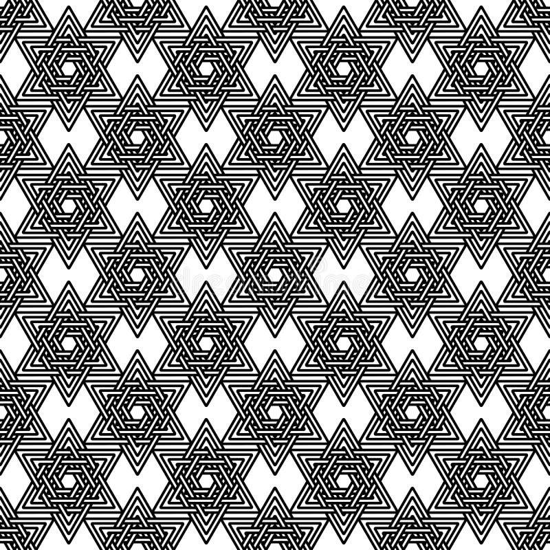 Teste padrão abstrato das estrelas de David Vetor ilustração do vetor
