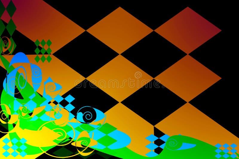 Teste padrão abstrato de elementos coloridos em um fundo escuro ilustração stock