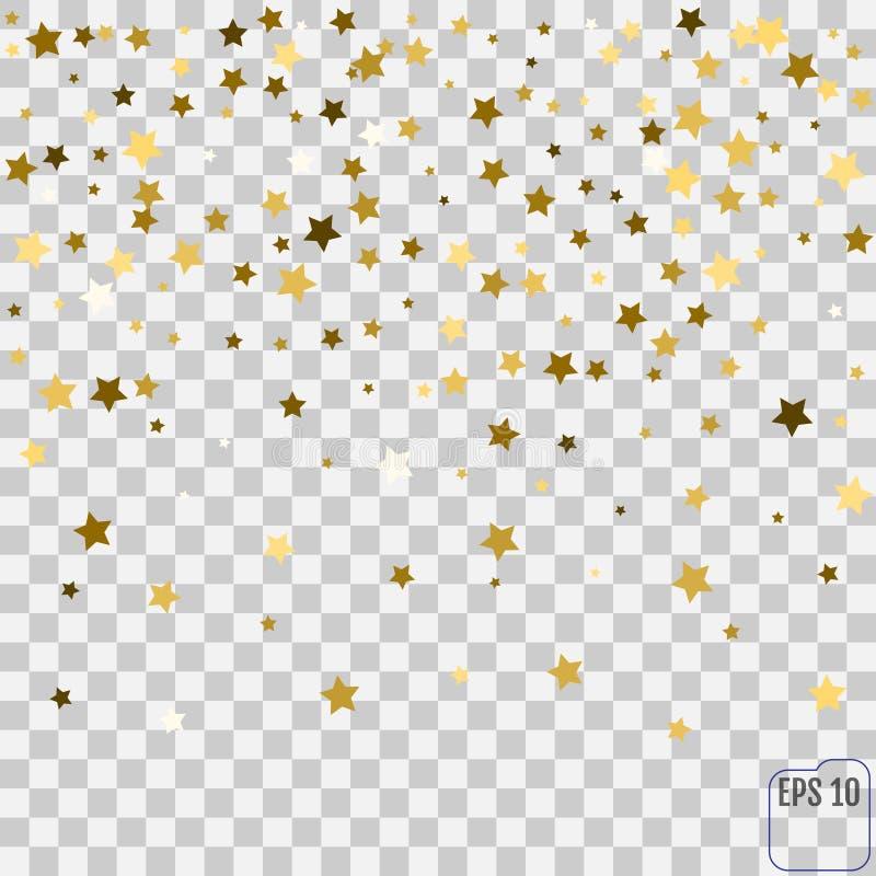 Teste padrão abstrato de estrelas douradas de queda aleatórias em b transparente ilustração royalty free
