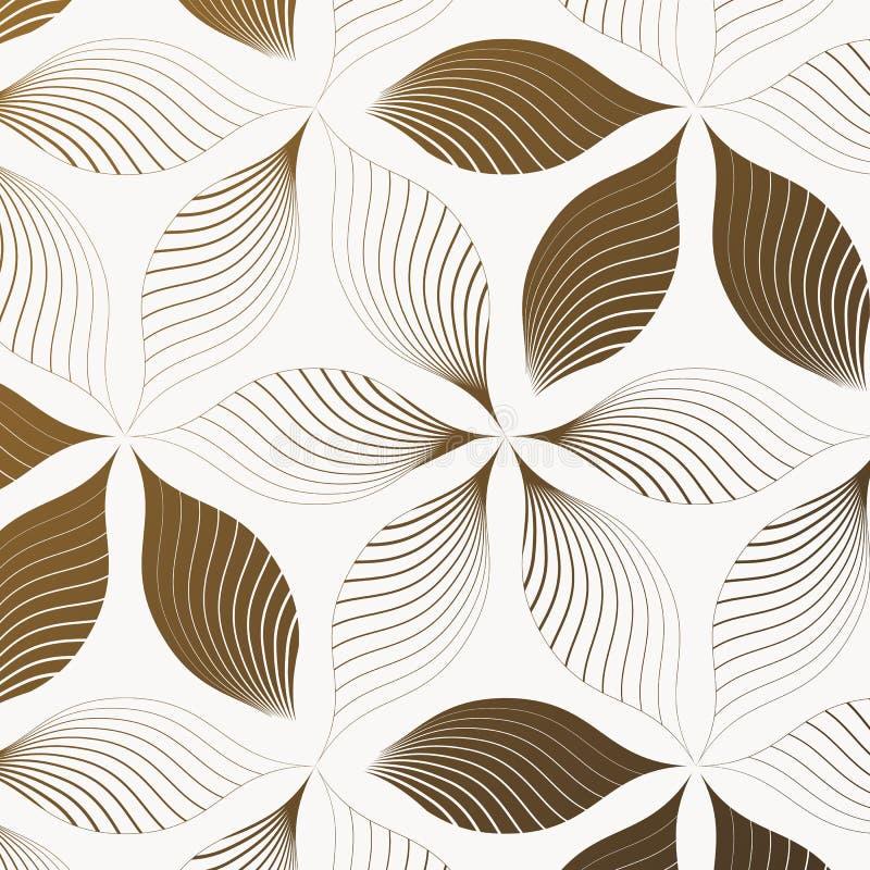 Teste padrão abstrato de folha linear ou de flor, repetindo a cor marrom escura com linha corajosa e clara O teste padrão está li ilustração stock